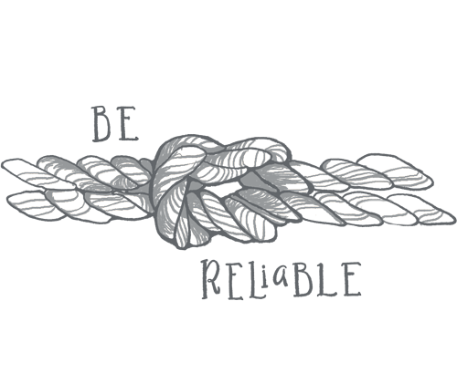 Rope with a strong knot represents Continued core value be reliable and excellent